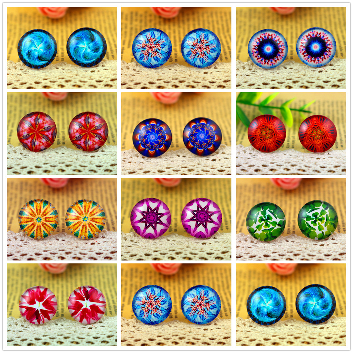 2018 Hot Sale 10pcs 20mm Handmade Photo Glass Cabochons (Color Line Series)