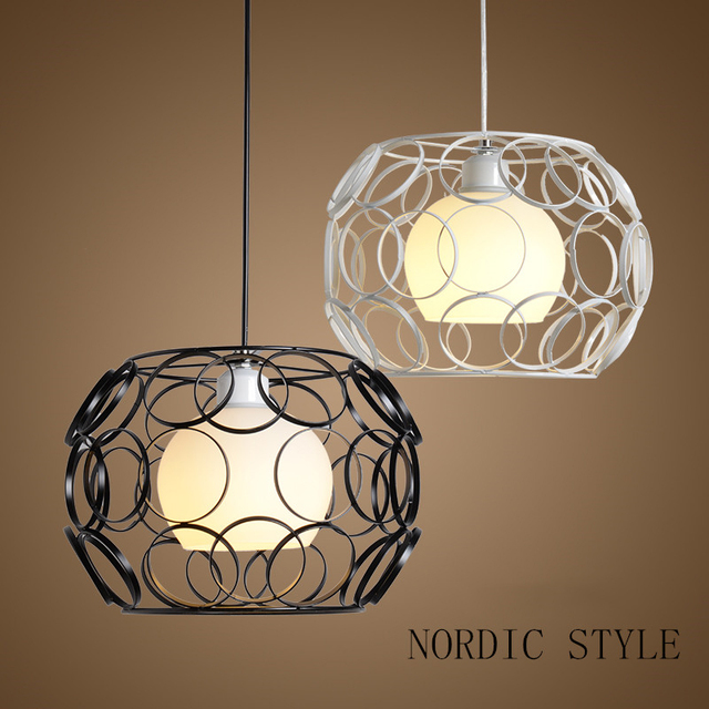 creatieve ijzeren kooi glazen bol plafondlamp druppel residentile eetbar trap verlichting