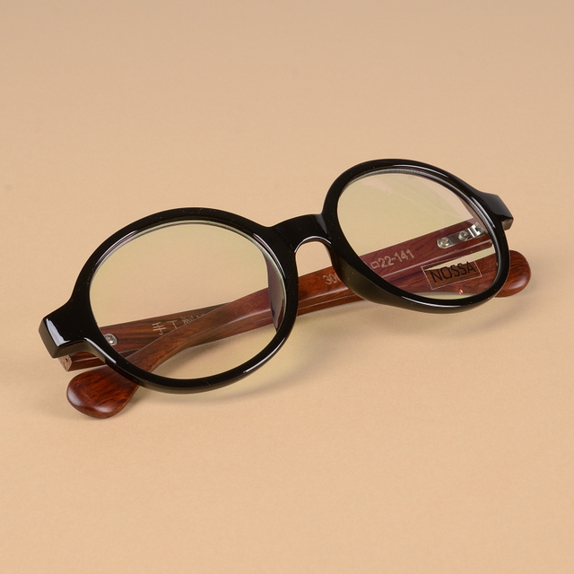 baa94efa6b8 Black Round Frame Wooden Optical Glasses Clear Lens Vintage Wood Eyeglasses  Women And Men Retro Cool