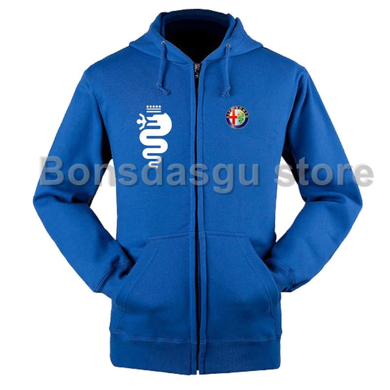 Women And Men S Alfa Romeo Logo Zipper Hoodie Jacket Sweatshirts