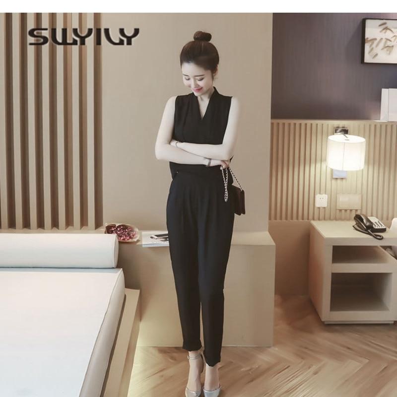 b081eea55b Swyivy Chaleco Plus Delgada Negro Gasa Ropa Con Señoras Moda Mujer gris 2 2018  Tamaño Pantalones Largo Verano ...