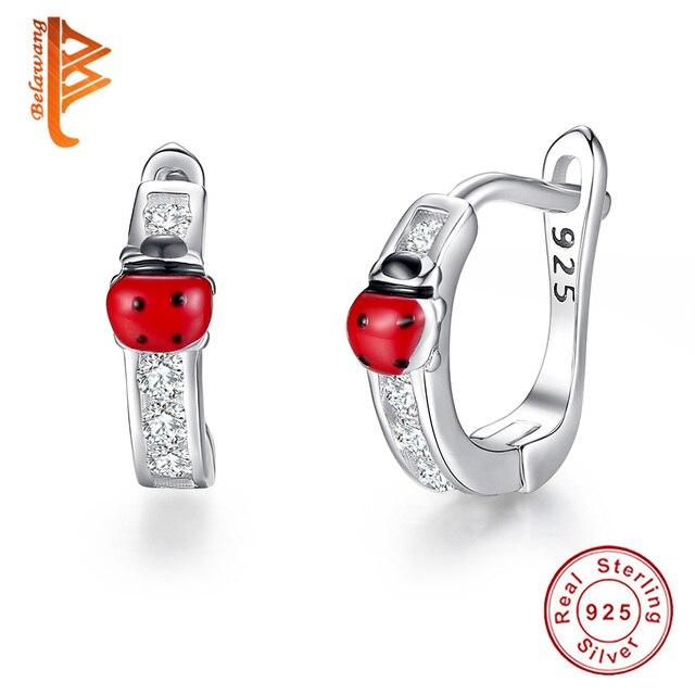 Miraculous 925 Sterling Silver Crystal Hoop Earrings Ladybug Animal