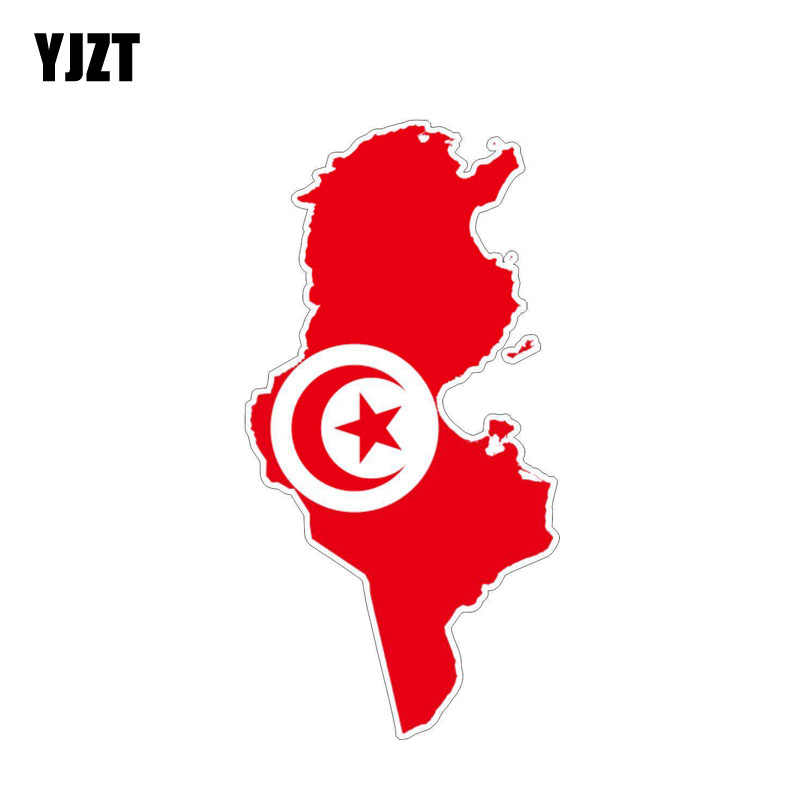 YJZT 7.6CM*15.1CM Funny Tunisia Map Reflective Flag Car Sticker Motorcycle Decal 6-1220