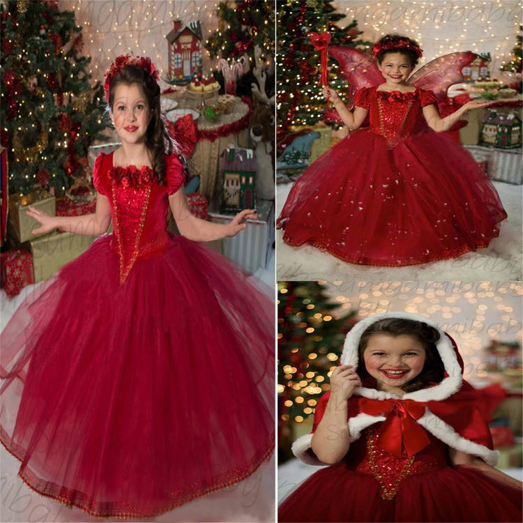 ФОТО (CZ1042)High quality New Year clothes princess Dress for girls cape wedding dress Children's Cloting free