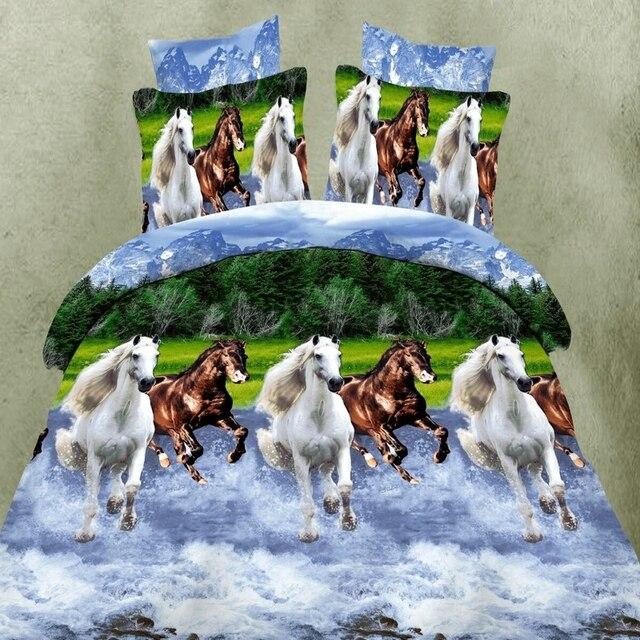 Горячая 3d животных постельных принадлежностей размер король королева твин 3/4 шт. лошадь волк панда пододеяльник простыня наволочки мальчиков постельное белье