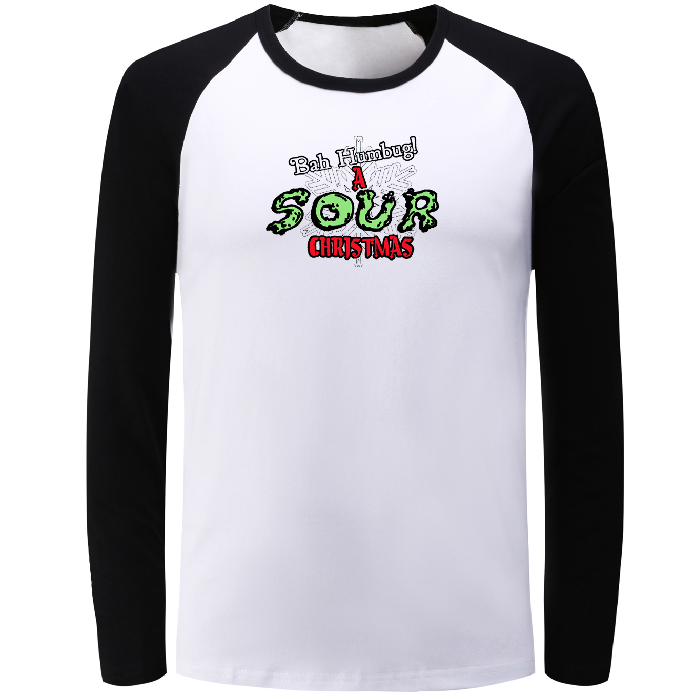 IDzn Spring Autumn Raglan Long Sleeve T-shirt BAH HUMBUG A SOUR CHRISTMAS Pattern T Shirt Men Women Boy Fashion Cotton Tee Tops