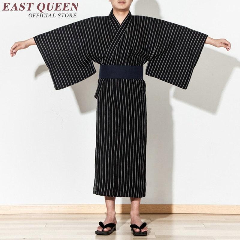 Samurai Clothes Costume Yukata Men Traditional Japanese Clothes Kung Fu Kimono Men's Haori Obi Japan Kimono Men KK1015 Y