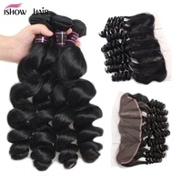 Ishow Brazilian Loose Wave With Closure Non Remy Human Hair 4 Bundles With Frontal Ear to Ear Lace Frontal Closure With Bundles