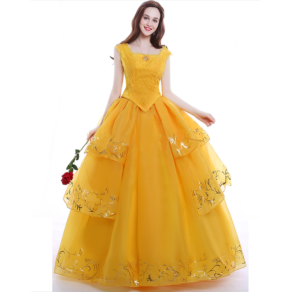 Top Quality Moive Beauty And Beast Belle Cosplay Costume Adult Belle Princess Yellow Dress Women Girls Halloween Party Dresses