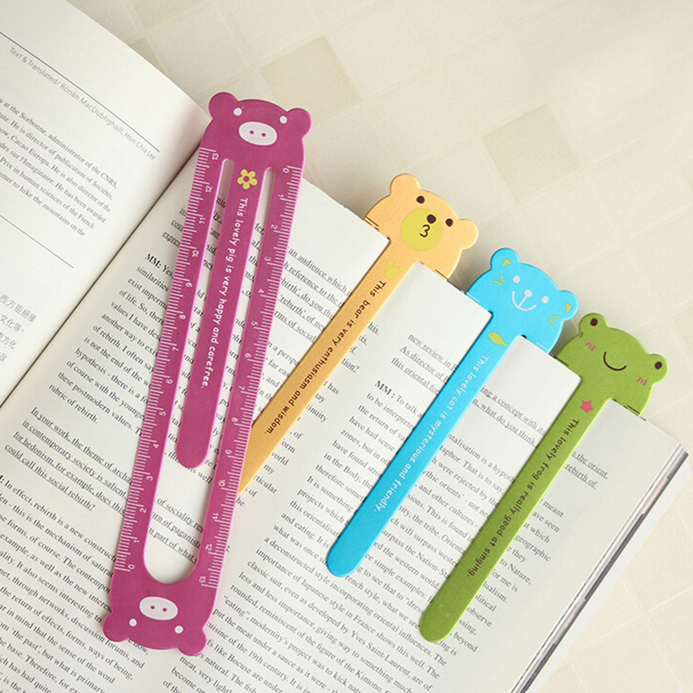 Cute Kawaii Korean Animal Cartoon Frog Bear Pig Cat Metal Paper Clip Ruler Office School Supplies Stationery For Children Kid