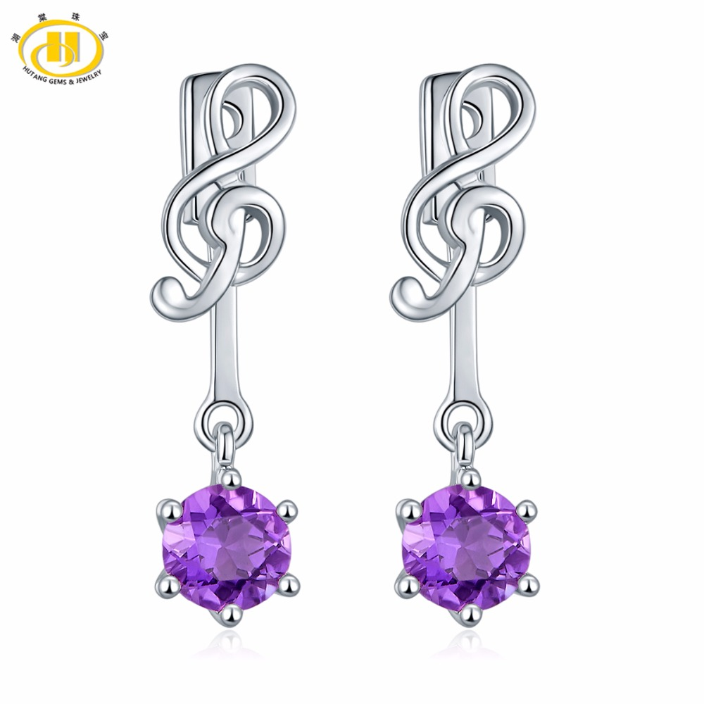 купить Hutang Music Earrings Real Purple Amethyst Solid 925 Sterling Silver Gemstone Jewelry for Women Girl Stylish Earrings Gift онлайн