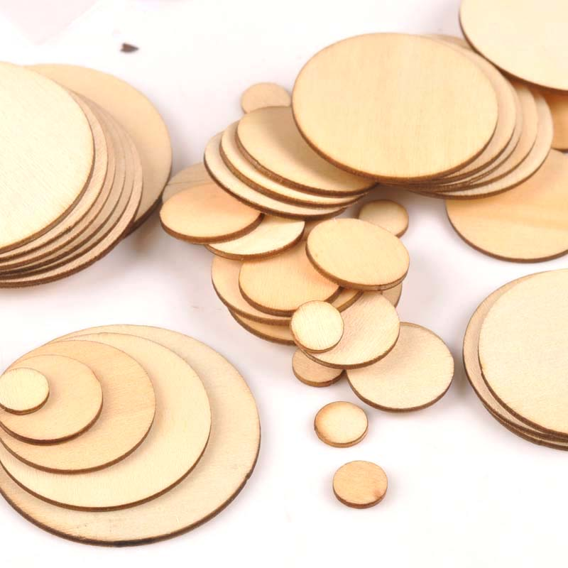 50pcs Mix Round Wooden Scrapbooking Carft For Handmade Home Embellishments DIY Wood Circle Decoration 10/20/30/40/50mm M1821