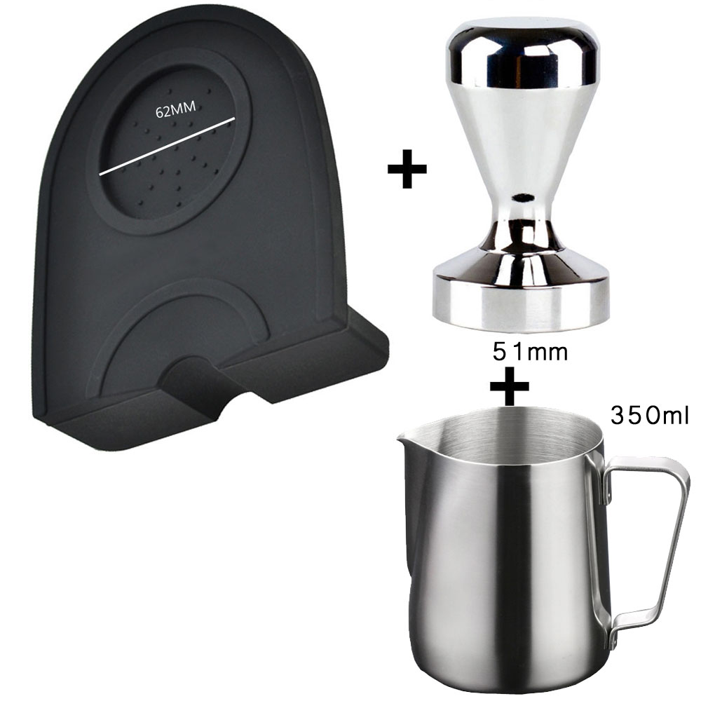 Steel Coffee Tamper Hammer Coffee Pressure Mat Pad 350ml Coffee Pull Cup Stainless Steel Flower Milk Pot