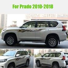 2 стороны автомобиля искусственная кожа Су полоски 3M наклейки на уровне талии наклейки на авто Графика для Toyota Prado