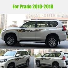 2 kanten Auto Boday Strepen 3 M Taille Lijn Stickers Decals Auto Graphics voor Toyota Prado