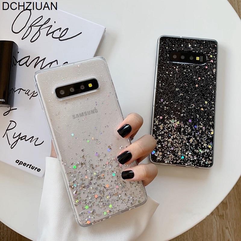 Dchziuan glitter bling lantejoulas caso do telefone para samsung galaxy s10 s8 s9 mais nota 8 nota 9 silicone macio claro caso de luxo capa