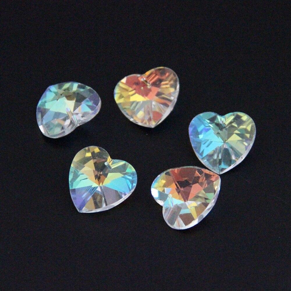 28mm 100pcs lot AB Crystal Heart Shape Beads Glass Lighting Pendant Prism Chandelier Suncatchers Crystal Drop