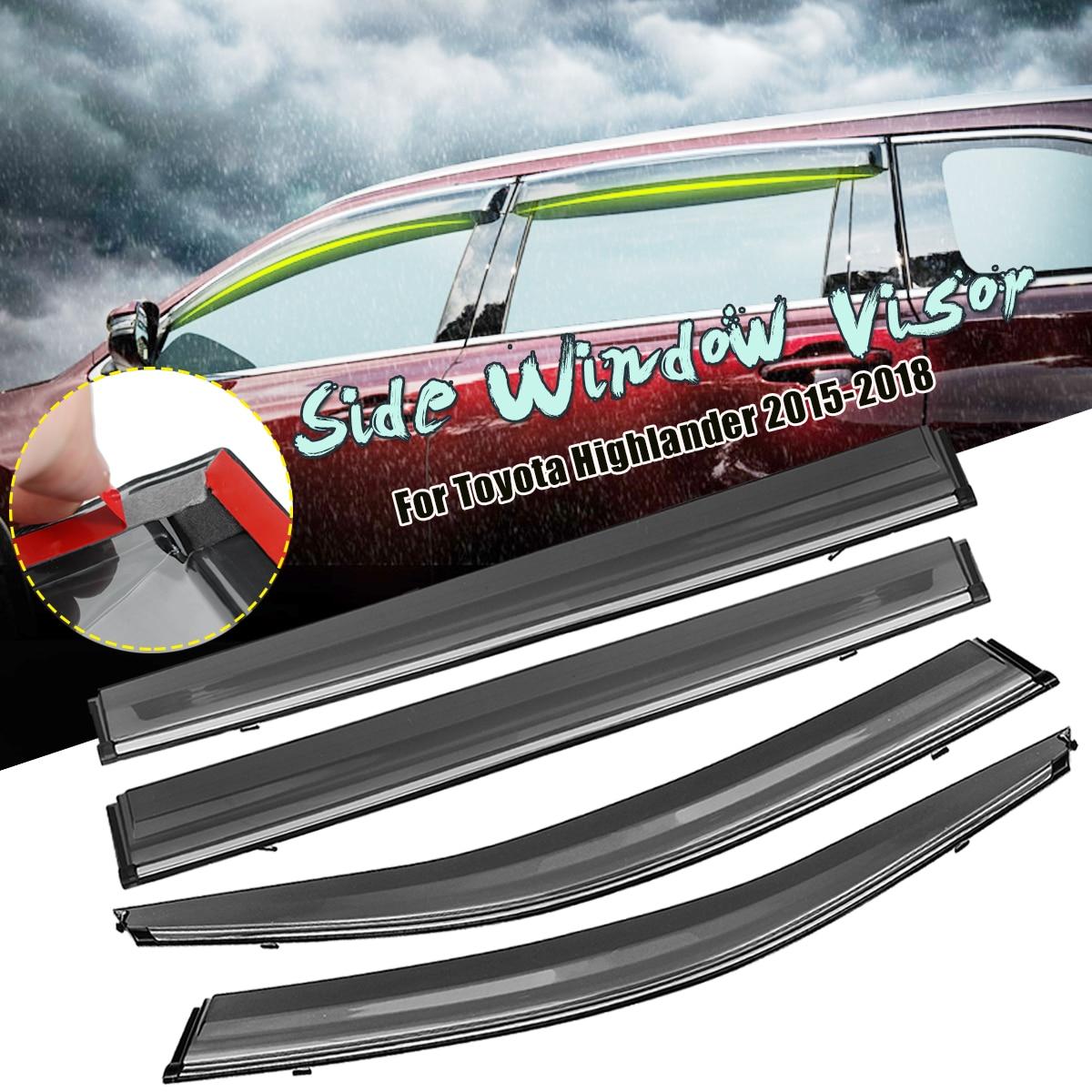 medium resolution of 4pcs acrylic side window visor rain sun guard vent shade for toyota highlander 2015 2016 2017