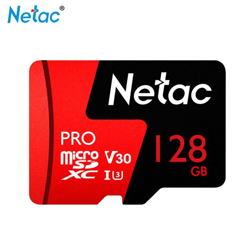 Cartão de Memória Flash Netac 128G V30 U3 10 64GB Classe Cartão de Memória Cartão Micro SD Cartão SDXC TF 64GB de Armazenamento de Dados P500 Para Samrtphone PC