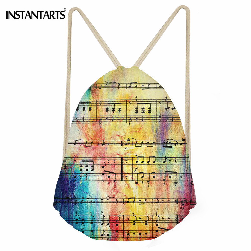INSTANTARTS Rainbow Sheet Music Pattern Outdoor Gym Bag Boys Girls Folding Small Sport Drawstring Bag Children Sack Backpack Kid