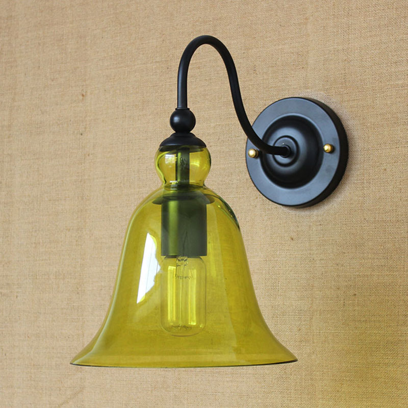 Retro Europe pastoral style green glass vintage wall Lights lamps hallway E27 for bathroom bedside bedroom indoor foyer cafe купить