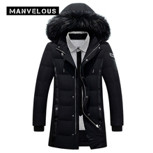Manvelous Long Winter Down Jackets Mens Fashion Casual Slim Solid Thick Mid-Length Parkas Hooded Mens Fur Collar Jackets Coats