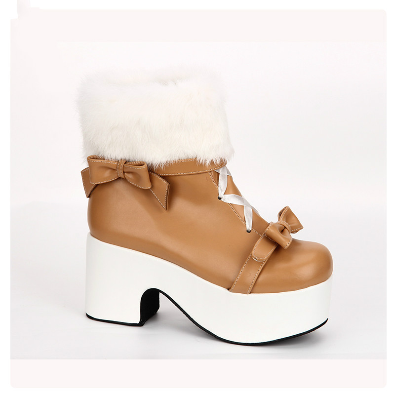 Princess sweet punk shoes Winter slope and cotton boots hairy collar Lolita