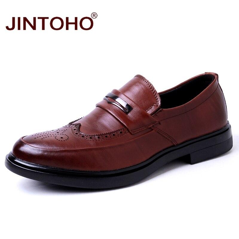 JINTOHO Brand Men Genuine Leather Shoes Designer Men Flats Casual Men Shoes Leather Male Shoes Mens