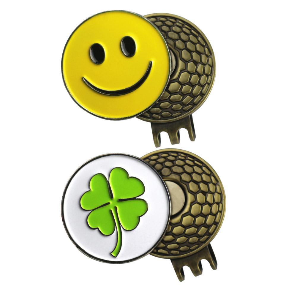 PINMEI Magnetic Golf Hat Clips Golf Ball Mark Sets 1pc Smile Face Marker&pc Four Leaf Clover Golf Marker 1pc Cap Clip For Friend
