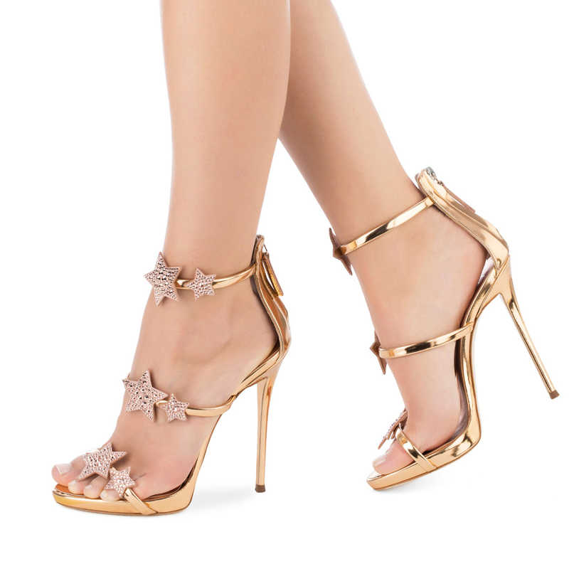 8dfe228d3c Platform Three Straps With Crystal Stars Women Shoes Patent Leather Sandals  Rose Gold Metallic Silver Women Sandals High Heels