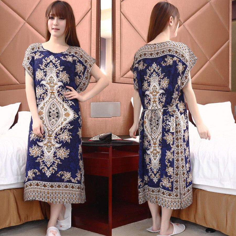 Summer Sleepwear Dress Women Nightgown 100 Cotton Female Short Sleeve