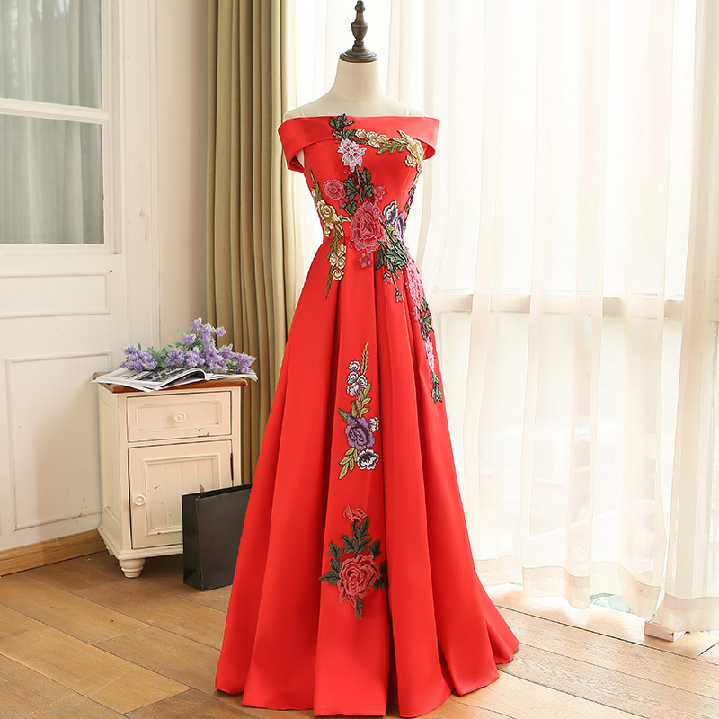 Cheap Price Elegant Embroidery Flowers Design Red Lace up Long Evening Dresses 2018 Prom Party Dress