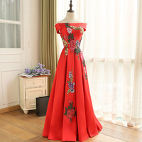 Cheap Price Elegant Embroidery Flowers Design Red Lace up Long Evening Dresses 2018 Prom Party Dress Robe De Soiree Longue