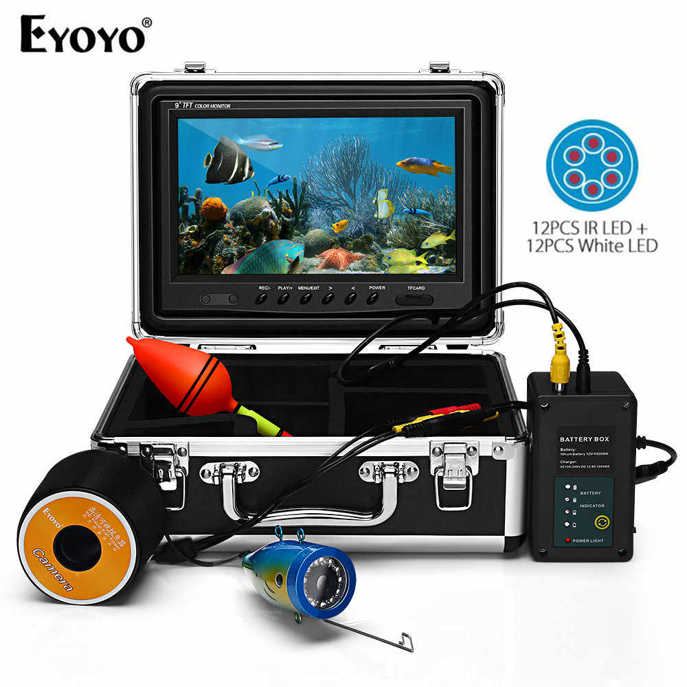 "EYOYO EF09 9""30M 24pcs Infrared and White LED Fish Finder Battery Control Box Underwater Video Fishing Camera"