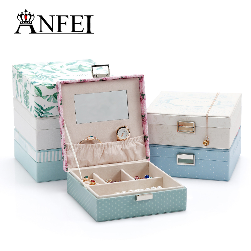 ANFEI New Listing Storage Box With Mirror Touch Smooth Has 6 Differents Korea Printing Jewelry Display Place Jewelry As A Gift