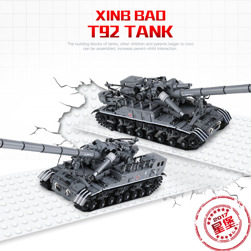 XB06001 Creative MOC Military Series 1832 PCS The T92 Tank Set Education Building Blocks Bricks DIY Toys For Kids Gift wisehawk nano blocks darth vader stormtrooper bb8 series action figure diy building bricks creative toys chirstmas gift for kids