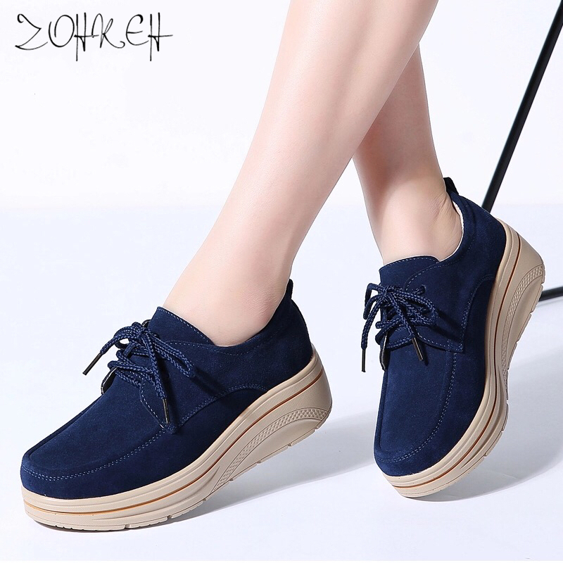 Spring Women Flats   Leather     Suede   Platform Sneakers Women Shoes Ladies Casual Lace Up Flats Creepers Moccasins Chaussure Femme
