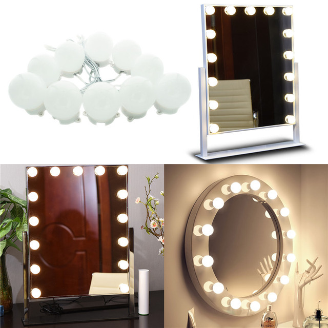 Makeup Mirror LED Lights 10 Hollywood Vanity Light Bulbs for     Makeup Mirror LED Lights 10 Hollywood Vanity Light Bulbs for Dressing Table  with Dimmer and Plug