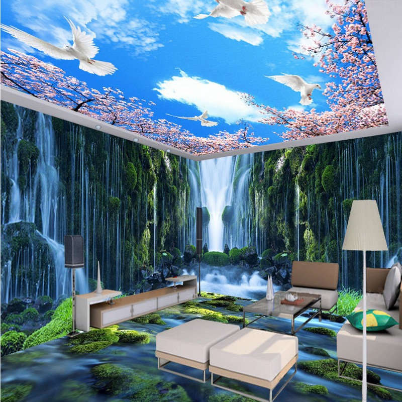 Free Shipping Waterfall Water Rock 3d Theme Space