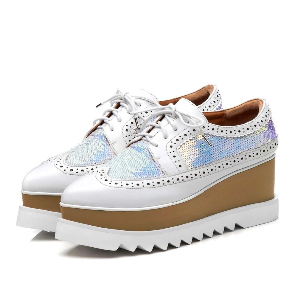 Lenksien в сдержанном стиле туфли на танкетке; обувь на платформе; обувь из кусочков кожи с острым носком на шнуровке женские туфли лодочки из натуральной кожи в стиле «панк», повседневная обувь для свидания, L18 - 3