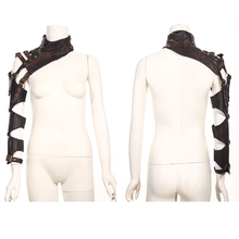 Steampunk Vintage Leather Collar Cappa with Long Arm Warmer Punk Gothic Women and Men Detachable Shawls Multi-purpose Capes
