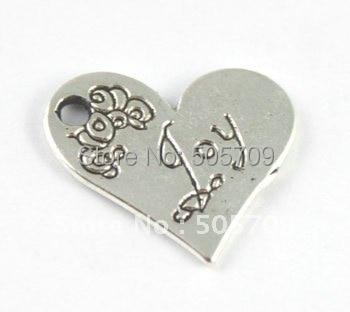 180 шт. тибетское серебро Цвет в форме сердца радость очарование a15221
