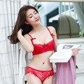Moda Sexy Lace confortável respirável seção fina sutiã push up bra conjunto de sutiã e calcinha Vermelha, preto, branco, cinza para As Mulheres