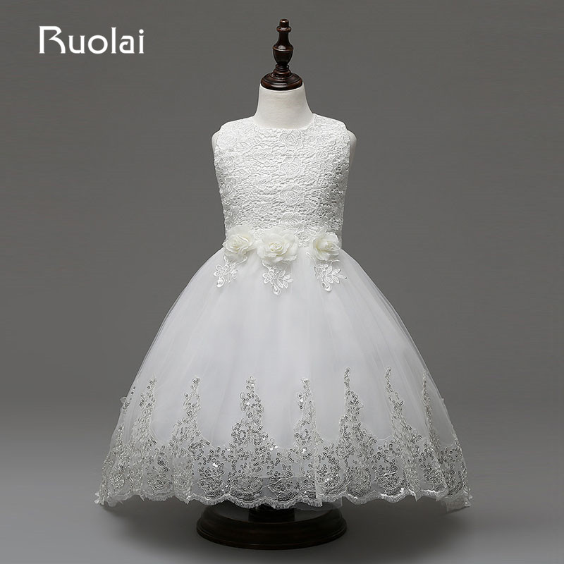 Real Picture Scoop   Flower   Beaded Lace   Flower     girl     Dresses   Tulle for Wedding   Girls   Birthday Party First Communion   Dresses   AFG27