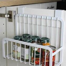 Carbon steel food storage shelves kitchen seasoning container rack storage organizer holder stand for refrigerator wall hook