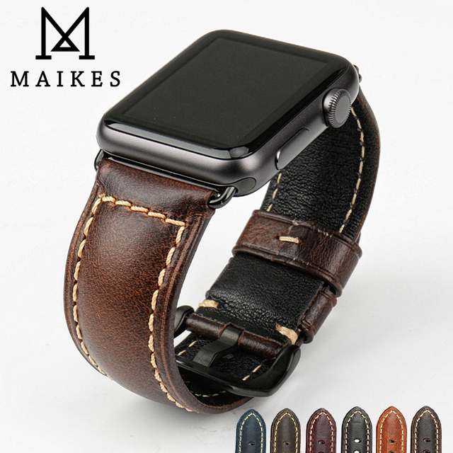 MAIKES genuine cow leather watch accessories for apple watch strap 40mm 38mm brown apple watch band 44mm 42mm iwatch 4 bracelet 5