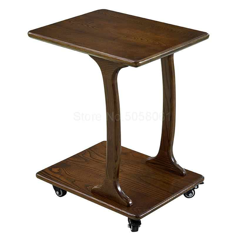 Mobile Coffee Table.All Solid Wood Sofa Side Living Room Mobile Coffee Table With Wheel Bedroom Bedside Table Small Side Table Small Coffee Table