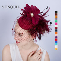 2017 Stylish Feather Flower Pillbox Fascinator Party Hats With Hair Clips Bridal Netting Veils Hats On