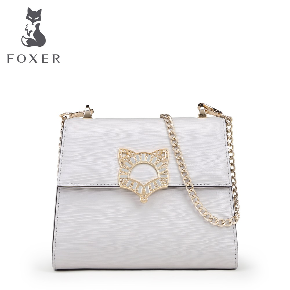 FOXER Luxury Bag Women Leather Handbag Designer Clutch Fashion Shoulder Bags Ladies Crossbody for Girls 3 Colors