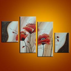 100% ręcznie malowany obraz olejny  kaligrafia 4 Panel na płótnie obrazy na ścianę domu czerwona abstrakcja kwiatowa do wystroju sypialni
